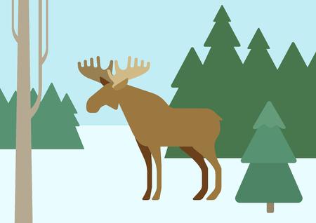 Elk in winter forest habitat background flat design cartoon vector wild animals. Flat zoo nature children collection. Ilustração