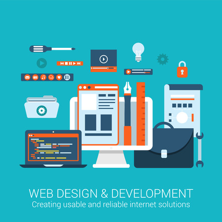 web development: Modern flat design concept for webdesign development interface elements creative process tools utility and vector web banners illustration print materials website click infographics elements collection. Illustration