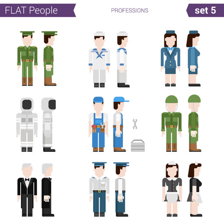 hostess: Flat style design professional people vector icon set. Professtions military, soldier, sailor, stewardess, hostess, builder, spaceman, conductor, waitress. Flat people collection.