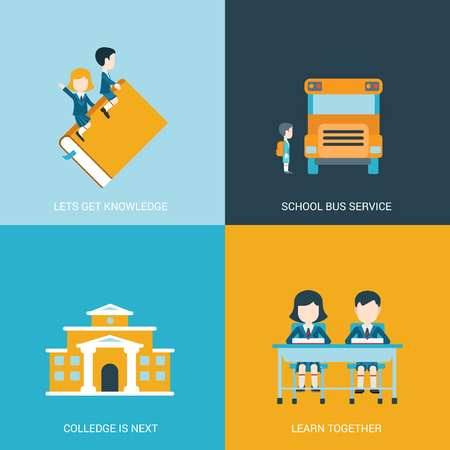 Flat style design vector illustration icon set back to school education concept. Boy and girl riding the book, sitting at the desk in classroom, schoolbus, college building. Big flat icons collection. Illustration