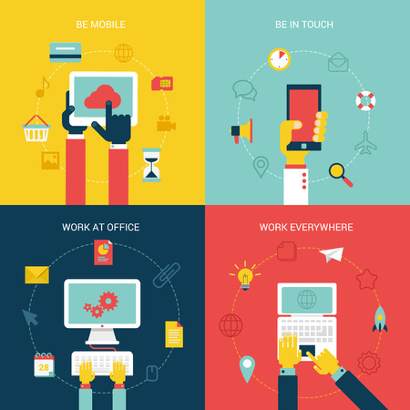 digital media: Flat design vector illustration concept icons set of modern mobile internet pc process work flow. New trend tablet, smartphone, laptop, online shopping, social media. Big flat collection.