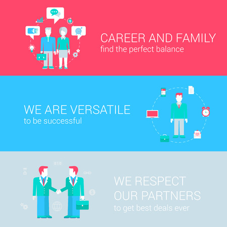 versatile: Career family balance concept flat icons set of versatile successful partnership and vector web banners illustration print materials website click infographics elements collection. Illustration
