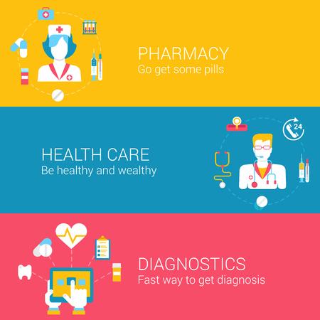 farmacia: Iconos planos conceptuales farmacia Médico conjunto de diagnósticos de cuidado de la salud de los trabajadores pharmacie e ilustración vector web haga clic infografías elementos.
