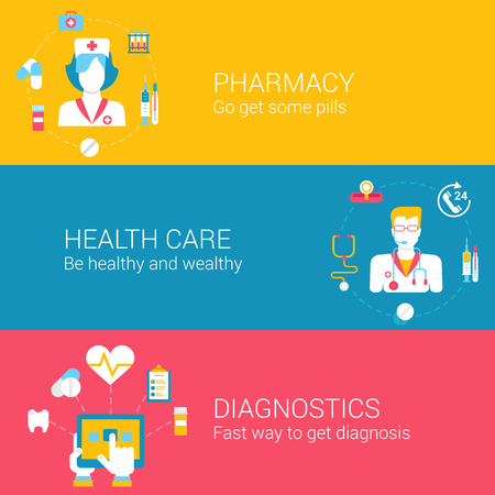 diagnostics: Medical pharmacy concept flat icons set of pharmacie worker health care diagnostics and vector web illustration website click infographics elements.
