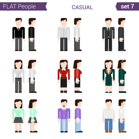casual clothing: Flat style design people vector icon set casual clothing. Business people woman man secretary. Flat people collection. Illustration