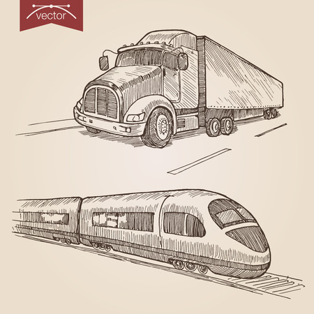 high speed train: Engraving style pen pencil crosshatch hatching paper painting retro vintage vector lineart illustration transport set. Truck road and high speed railway express train. Illustration
