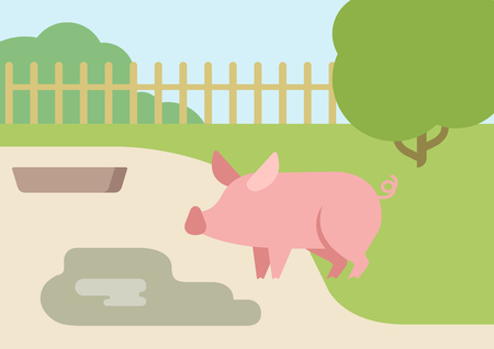 courtyard: Pig farm courtyard puddle of mud flat design cartoon vector animals. Flat zoo nature children collection.