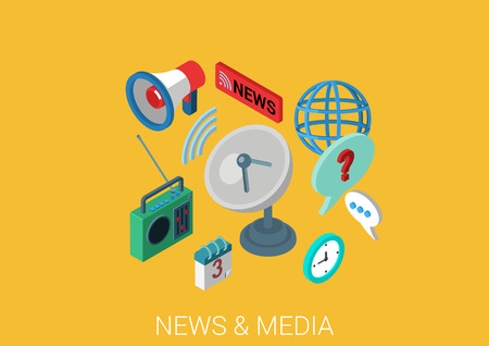 auditory: Flat media communication, news, satellite television, radio 3d isometric modern design concept vector. Schedule, auditory feedback, loudspeaker web illustration infographics pixelart elements.