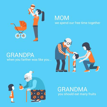 家庭: 家庭老人患兒家長孩子的人的概念平圖標集的母親的兒子的爺爺奶奶姥姥的孫子孫女孫子和網站點擊信息圖形設計網頁元素的矢量插圖