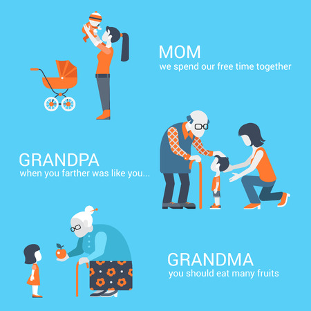 grandpa and grandma: Family seniors parents children kids people concept flat icons set of mother son grandpa granny grandma grandson granddaughter grandchild and website click for infographics design web elements vector illustration