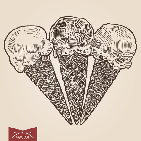 crosshatch: Engraving style pen pencil crosshatch hatching paper painting retro vintage vector lineart illustration three sweet ice cream cones. Engrave design big conceptual collection. Illustration