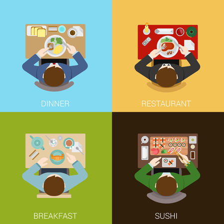 of view: Food meal time top view concept flat icons set of dinner restaurant breakfast sushi vector web illustration website click infographics elements collection. Illustration