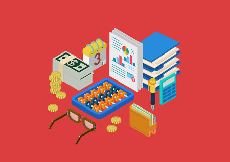accounting design: Finance accounting paperwork flat 3d isometric modern design concept money statistics wallet calculator coins glasses abacus vector web banners illustration print materials website click infographics.