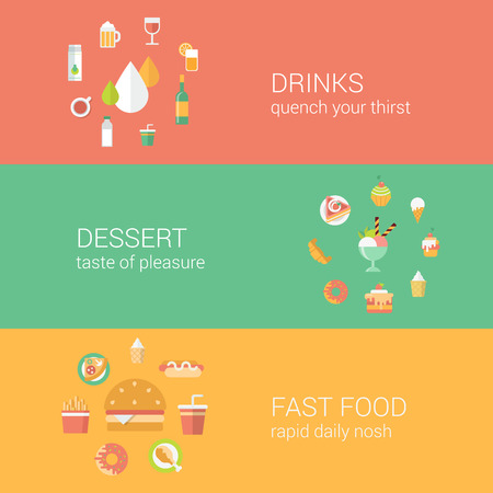 fastfood: Khái niệm thực phẩm biểu tượng phẳng đặt hàng đồ uống đơn cafe món tráng miệng nhanh vector thực phẩm trang web web minh họa biểu ngữ infographics yếu tố thu.