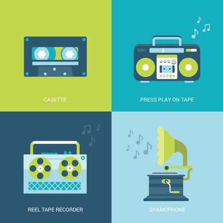 casette: Flat design vector illustration concept retro vintage set of electronics and entertainment. Casette, press play on tape, reel tape recorder, gramophone. Big flat processes collection. Illustration