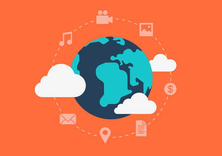 Flat style design vector illustration globalisation cloud social media content abstract concept. Collage world map cloud icons money coin media data files messages. Big flat conceptual collection.