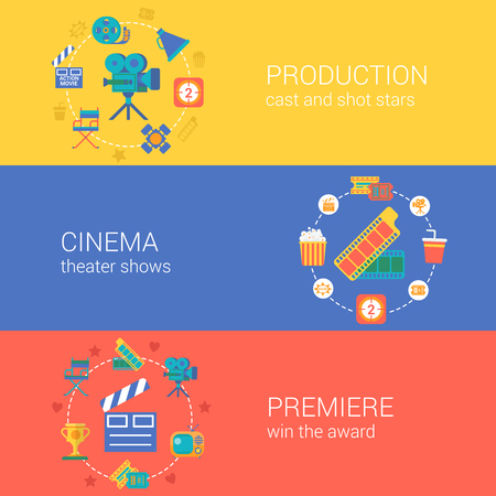 Flat video movie production cinema design icons set casting producing director filming. Modern web click infographics style vector illustration concept collection. Vetores