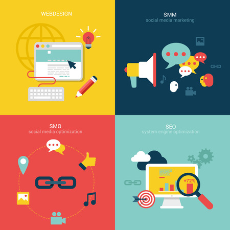 webdesign: Flat design vector illustration concept process icons set of modern webdesign, seo, smo and smm. New trend social media and online promotion search engine optimization. Big flat processes collection.