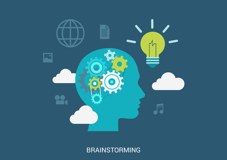 Vlakke stijl vector illustratie brainstormen proces concept. Menselijk hoofd silhouet met versnelling hersenen lamp gloeilamp idee in de wolken. Grote platte conceptuele collectie.