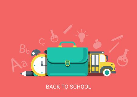 schoolbus: Flat style design vector illustration icon back to school learning education concept. Briefcase, pencil, clock, schoolbus conceptual collage. Big flat icons collection. Illustration