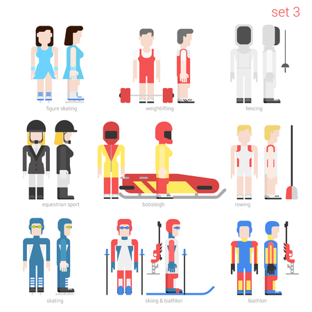bobsled: Flat style sportsmen people vector icon set. Female figure skater, weightlifter, fencer, equestrian, bobsled, rower, skater, skier and bobsley. Flat sportsman peolpe collection.