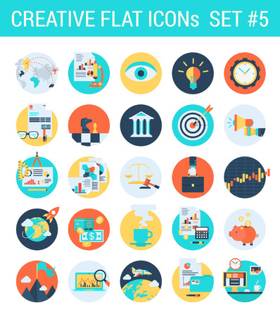 Creative flat icons set business law attorney stock exchange market court process case bank strategy chess target marketing report web click infographics style vector illustration concept collection.