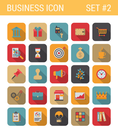 Flat style design long shadow business vector icon set. Bank, gift, car, key, alarm, cart, shopping, sale, hourglass, target, marketing, pin, money, shop, crown. Flat web and app icons collection.