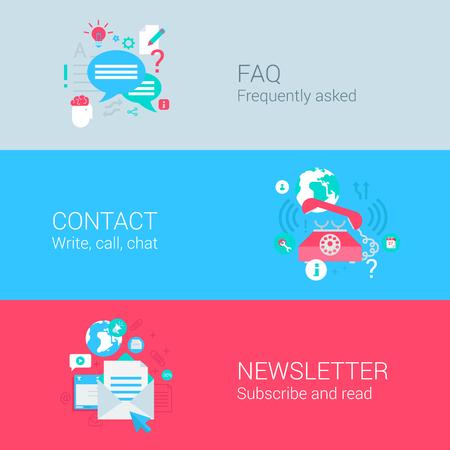 온라인 지원 개념 평면 아이콘 FAQ 연락처 전화 통화 뉴스 레터 이메일 가입 및 벡터 웹 일러스트 웹 사이트 클릭 인포 그래픽 요소 컬렉션의 집합입니 일러스트