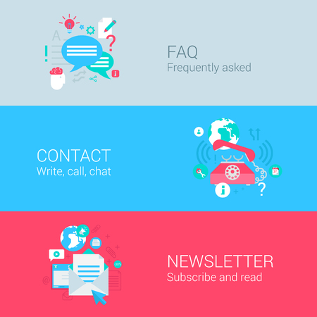 contacts: Online support concept flat icons set of FAQ contact phone call newsletter email subscription and vector web illustration website click infographics elements collection. Illustration