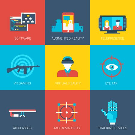 grasses: Flat icons set virtual augmented reality gaming tracking technology grasses cinema web click infographics style vector illustration concept collection.