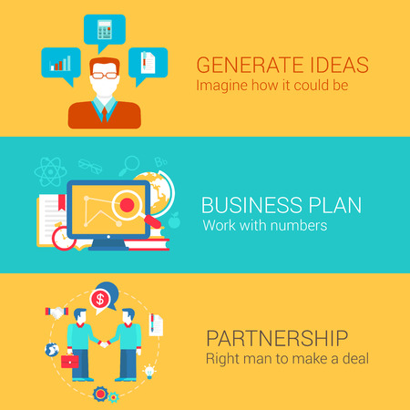 web icons: Business start up concept flat icons set of generate idea plan partnership and vector web illustration website click infographics elements collection. Illustration
