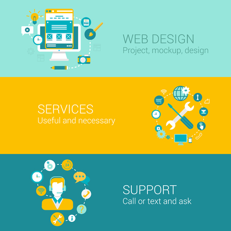 business support: Web design concept flat icons set of project mockup interface usability services support and vector web illustration website click infographics elements collection. Illustration