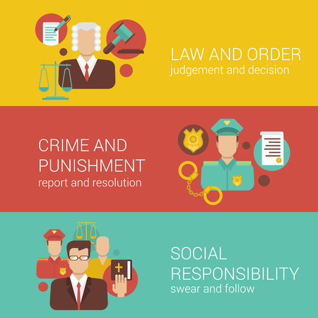 law and order: Law attorney lawyer court judge sheriff policeman religion bible social responsibility flat web banner infographics vector illustration template collection.