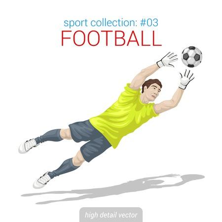 スポーツマンはベクトル コレクションです。サッカーのゴールキーパーの目標ボール ジャンプ。スポーツマン高詳細図。