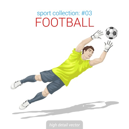 Sporters vector collectie. Voetbal doelman goal bal sprong. Sporter hoog detail illustratie. Stock Illustratie