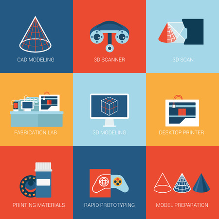 フラット アイコン設定、プリンター印刷プロトタイプ試作 web クリックしてインフォ グラフィック スタイル ベクトル イラスト概念コレクションを  イラスト・ベクター素材