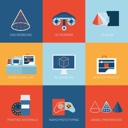 prototipo: Iconos planos establecen tecnología 3D colección de estilo de ilustración prototipo de impresión de la impresora de exploración de modelos de escáner de prototipos web clic infografía vector de concepto.