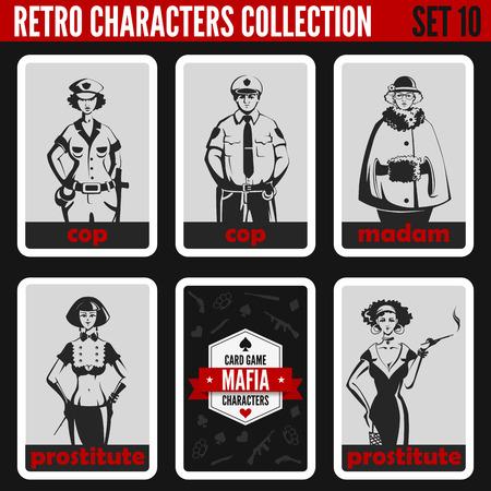 prostituta: Vintage personas colección retro. Estilo noir Mafia. Madam, prostitutas, policías. Profesiones siluetas.