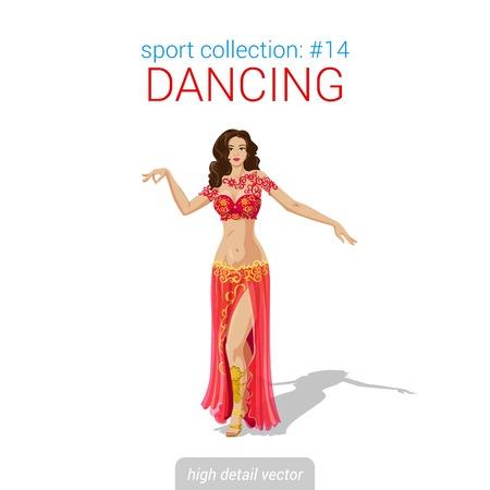 Sportsmen vector collection. Sexy bellydance woman arabian oriental dancer. Sportsman high detail illustration.