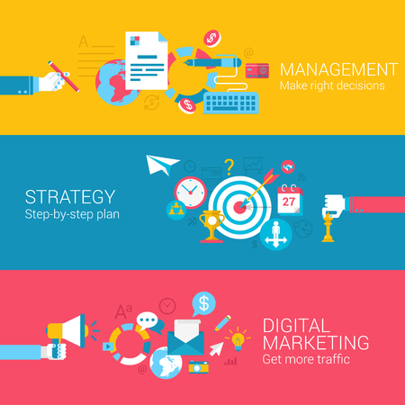 Digital marketing strategy management concept flat icons set of decision plan traffic and vector web banners illustration print materials website click infographics elements collection. Illusztráció