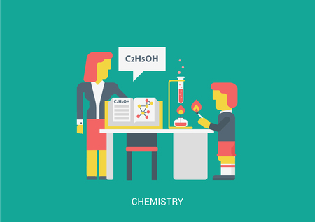knowledge concept: Flat style vector illustration chemistry lesson education study knowledge concept. Teacher open book chat alcohol spirit formula school student pupil set fire bulb flaming match. Flat collection.