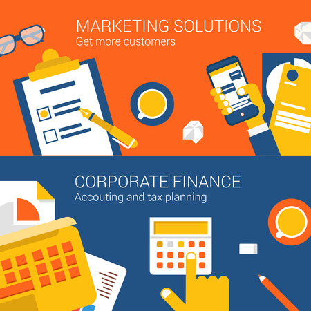 checklist: Marketing solutions corporate finance concept flat icons set top view collage hand smartphone calculator vector web banners illustration print materials website click infographics elements collection.