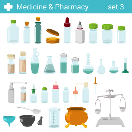 glass bottle: Flat style medical pharmaceutical bottles glasses containers scales icon set. Medicine pharmacy collection.