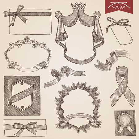 Engraving style pen pencil crosshatch hatching paper painting retro vintage vector lineart illustration ribbons, labels and frames set.