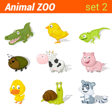 lizzard: Funny baby animals icon set. Children language learning elements. Alligator, chicken, lizzard, beetle, cow, pig, duck, snail, racoon. Animal Zoo collection.