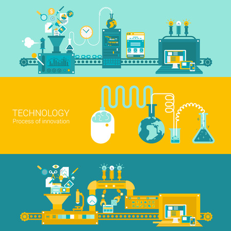 factory: Process factory technology plant concept flat icons and vector web banners illustration print materials website click infographics elements collection.
