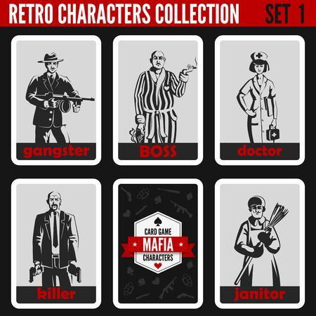 Retro uitstekende mensen collectie. Maffia noir stijl. Gangster, Boss, Dokter, Killer, Portier. Beroepen silhouetten.
