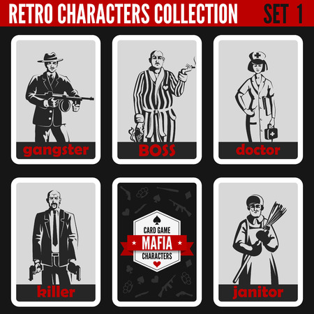 noir: Retro vintage people collection. Mafia noir style. Gangster, Boss, Doctor, Killer, Janitor.  Professions silhouettes. Illustration