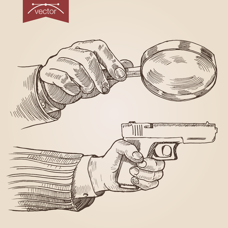 magnify: Engraving style pen pencil crosshatch hatching paper painting retro vintage vector lineart illustration private detective concept. Hands holding magnifier and gun. Engrave design big collection