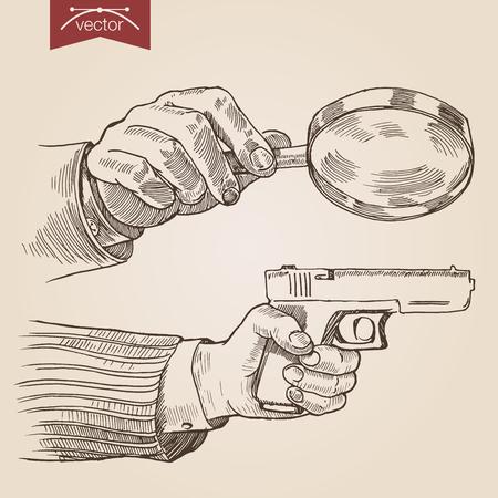 lupa: Estilo de grabado crosshatch pluma lápiz papel pintura vector vendimia lineas de ilustración concepto retro detective privado de la eclosión. Manos que sostienen la lupa y la pistola. Grabe diseño grande colección